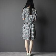 Load image into Gallery viewer, Half sleeve sundress cotton floral fit flares summer dress in Navy