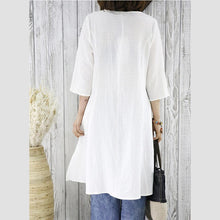 Load image into Gallery viewer, Half sleeve white cotton dress retro cardigan dress summer women shirt blouse top