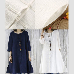 Half sleeve white cotton dress retro cardigan dress summer women shirt blouse top