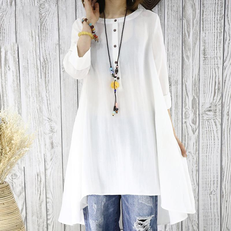 Half sleeve white flowy sundress cotton blouse women shirt top