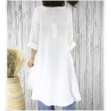 Load image into Gallery viewer, Half sleeve white flowy sundress cotton blouse women shirt top