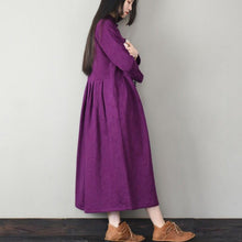 Load image into Gallery viewer, Handmade Chinese Button cotton stand collar clothes Women Work purple Traveling Dresses