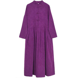 Handmade Chinese Button cotton stand collar clothes Women Work purple Traveling Dresses