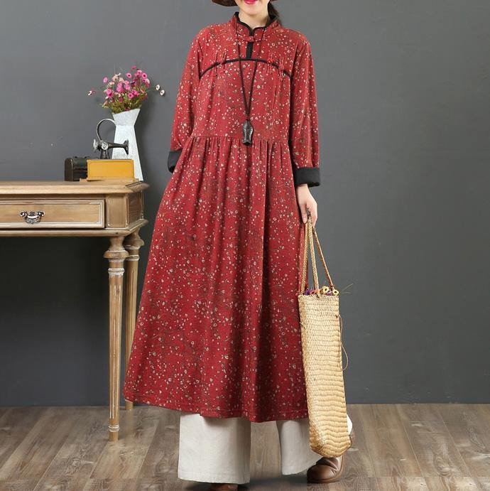 Handmade Chinese Button cotton stand collar tunic pattern Wardrobes red floral Plus Size Dresses