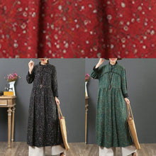 Load image into Gallery viewer, Handmade Chinese Button cotton stand collar tunic pattern Wardrobes red floral Plus Size Dresses