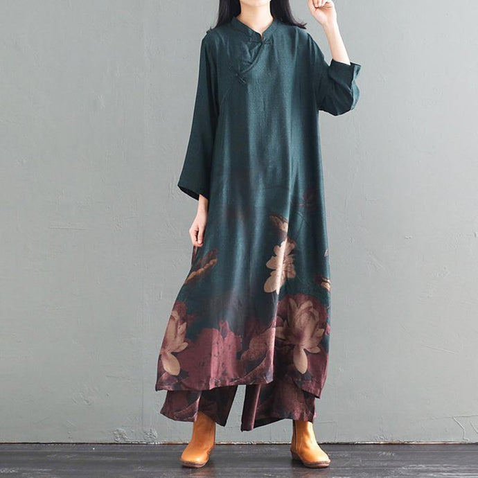 Handmade Cotton clothes Women plus size Print Stand Collar Silk Dress And Wide Leg Pants
