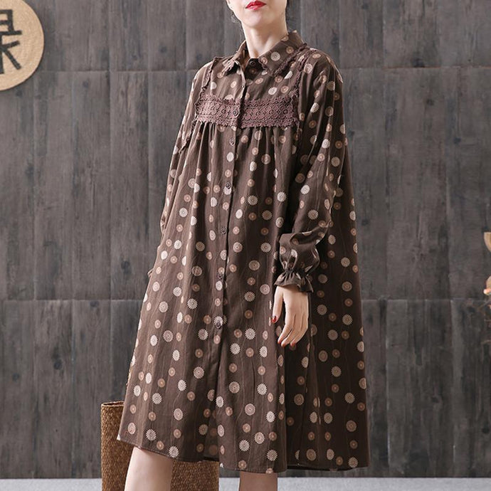 Handmade Cotton dresses Omychic Women Floral Printing Spliced Midi Dress