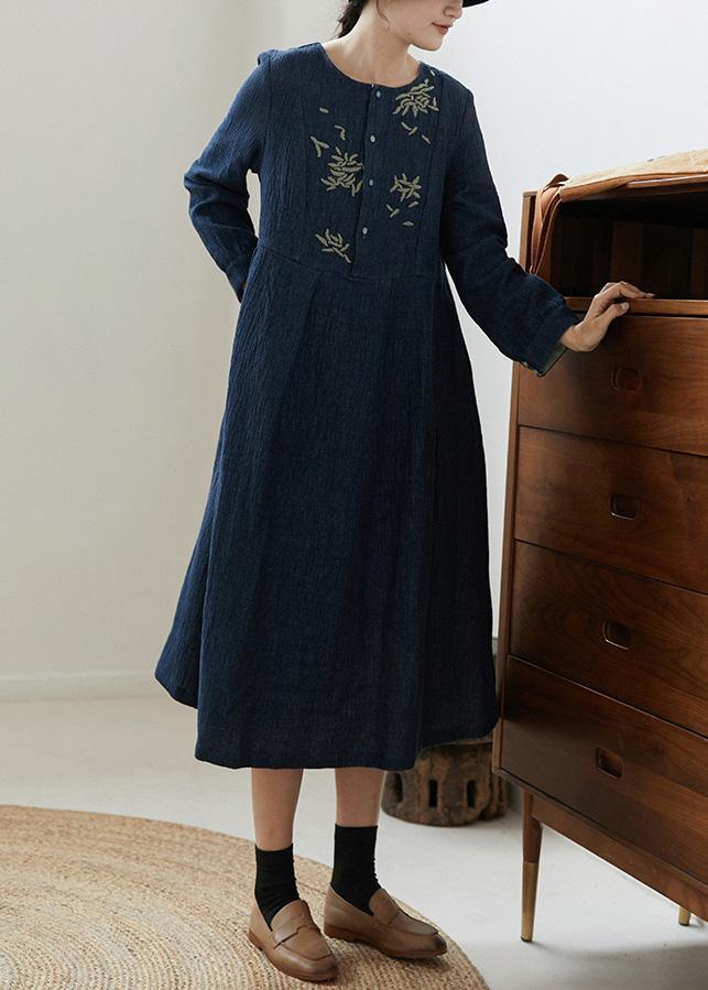 Handmade O Neck Pockets Spring Clothes Women Runway Navy Embroidery Dress