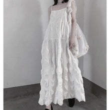 Load image into Gallery viewer, Handmade Spaghetti Strap Wrinkled Dresses Fabrics White Art Dress