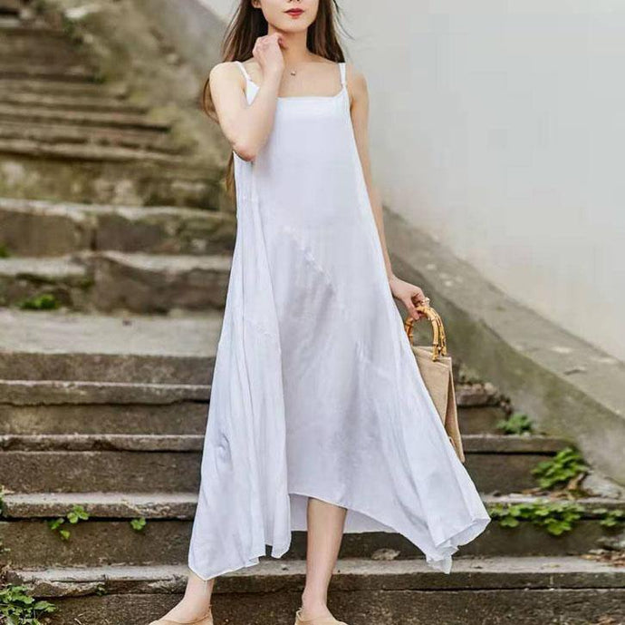 Handmade Spaghetti Strap asymmetric linen cotton white Dress summer