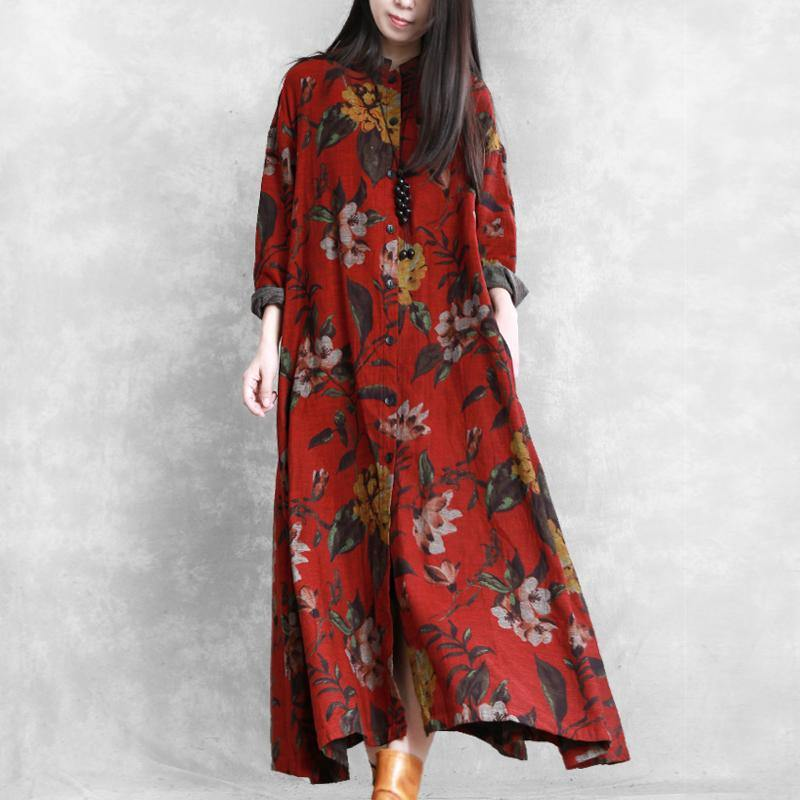 Handmade big hem Fine outfit red prints box outwear fall