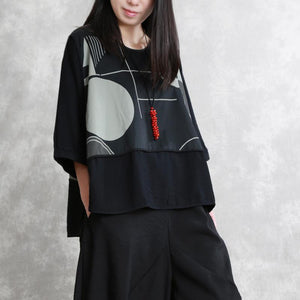 Handmade black Blouse o neck patchwork silhouette summer top