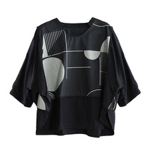 Laden Sie das Bild in den Galerie-Viewer, Handmade black Blouse o neck patchwork silhouette summer top