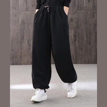 Load image into Gallery viewer, Handmade black jumpsuit pants unique drawstring trousers elastic waist Work pant