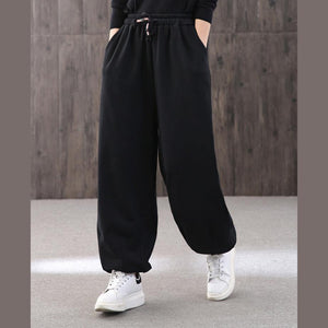 Handmade black jumpsuit pants unique drawstring trousers elastic waist Work pant