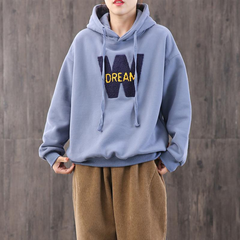 Handmade blue cotton clothes For Women hooded alphabet oversized blouses