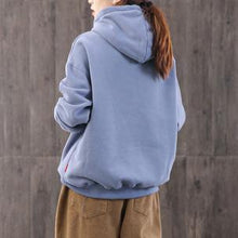 Load image into Gallery viewer, Handmade blue cotton clothes For Women hooded alphabet oversized blouses