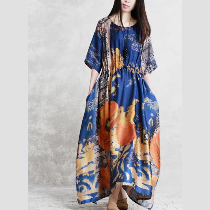 Handmade blue yellow print clothes o neck pockets Robe summer Dresses