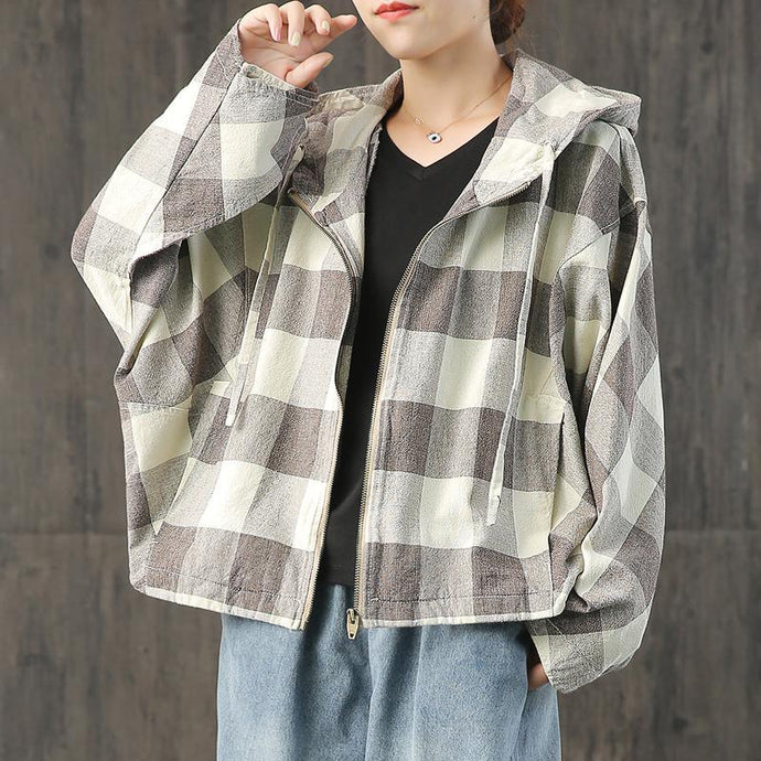 Handmade brown Plaid linen coat hooded Batwing Sleeve Knee fall coat