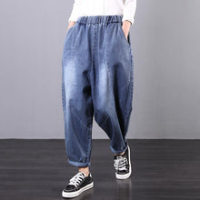 Load image into Gallery viewer, Handmade casual pants denim blue Tutorials elastic waist trousers