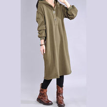 Load image into Gallery viewer, Handmade cotton hooded Wardrobes design green Dress
