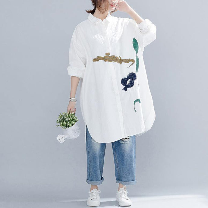 Handmade cotton tops Boho embroidery Turn-down Collar Outfits white Art tops spring