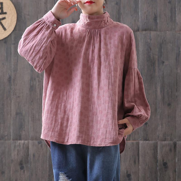 Handmade cotton tunic top plus size Dots Women Turtleneck Lantern pink Sleeve Blouse