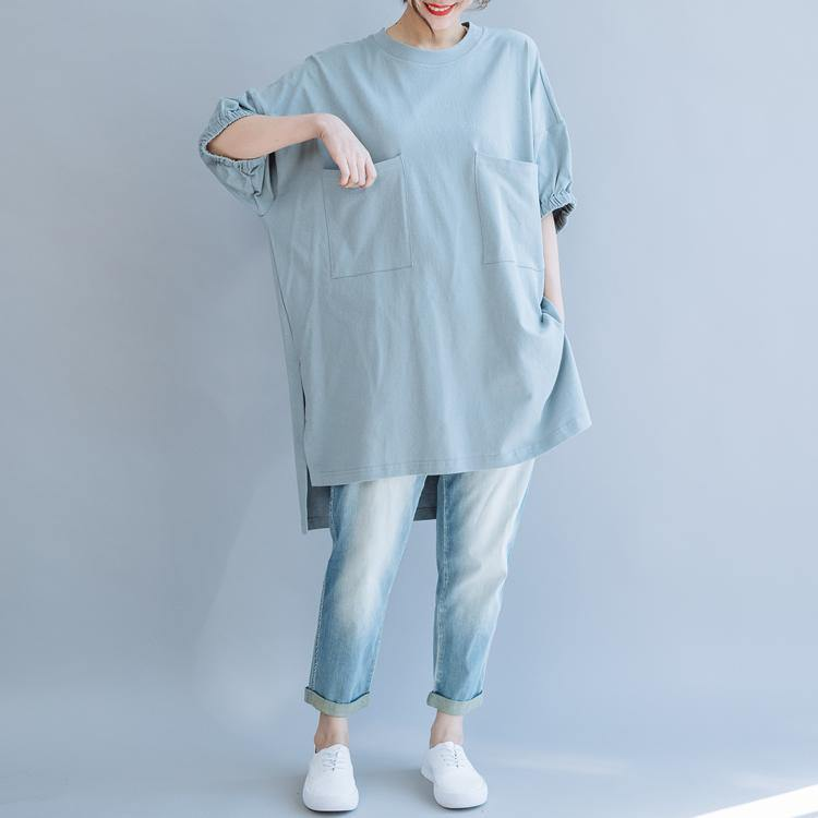 Handmade light blue cotton o neck pockets Vestidos De Lino summer shirts