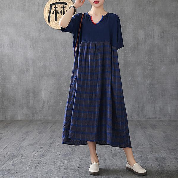 Handmade linen dress Indian Summer Vintage blue Striped Maxi Half Sleeve Dress
