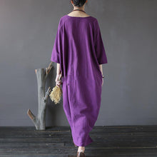 Load image into Gallery viewer, Handmade linen dresses 2019 o neck asymmetric Work purple loose Batwing Sleeve Dresses