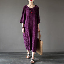 Load image into Gallery viewer, Handmade linen outfit top quality o neck Sleeve red jacquard Robe Three Quarter sleeve Dresses