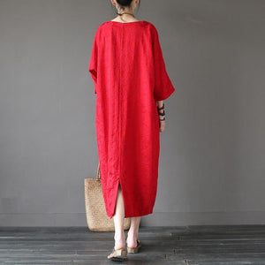 Handmade linen outfit top quality o neck Sleeve red jacquard Robe Three Quarter sleeve Dresses