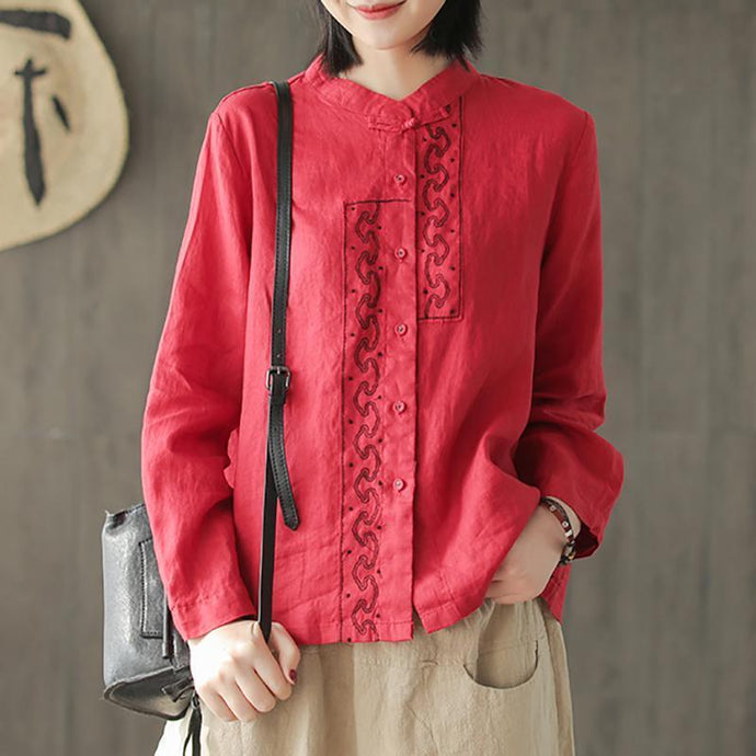 Handmade linen tunic pattern Organic Embroidery Spring Retro Style Women Shirt