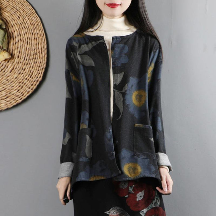 Handmade long sleeve Fine o neck tunic coats black prints Midi outwear