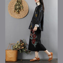 Load image into Gallery viewer, Handmade long sleeve Fine o neck tunic coats black prints Midi outwear