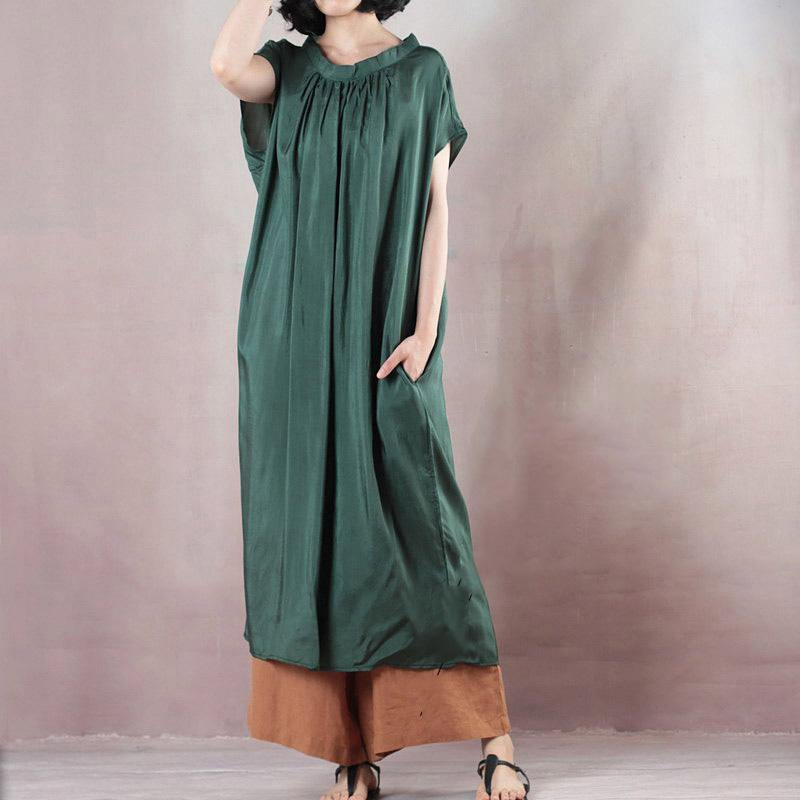 Handmade o neck Summer clothes Boho Christmas Gifts blackish green long Dress