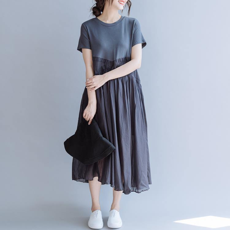 Handmade o neck patchwork cotton quilting dresses Shirts gray Vestidos De Lino Dress summer