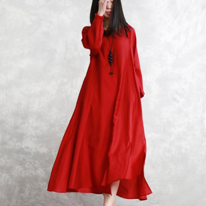 Handmade o neck silk clothes For Women Vintage Sleeve red Maxi Dresses spring