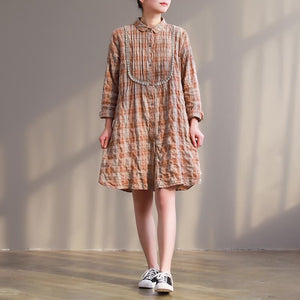 Handmade orange Plaid Cotton tunic top Plus Size design Button Down lace short Dresses