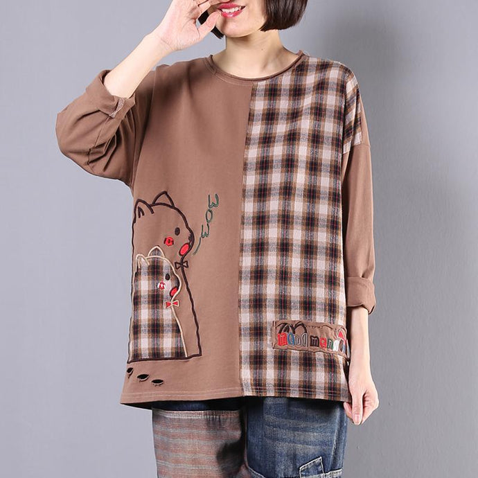 Handmade patchwork cotton Blouse Work Outfits brown blouse fall