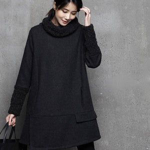 Handmade patchwork wool high neck dresses Neckline black Dress