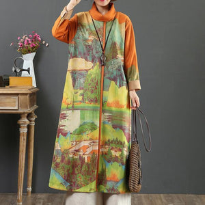 Handmade prints cotton high neck tunic top Inspiration orange long Dresses