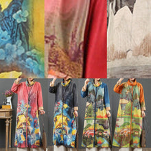 Load image into Gallery viewer, Handmade prints cotton high neck tunic top Inspiration orange long Dresses