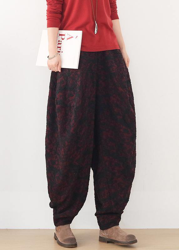 Handmade red harem pantspants slim spring Jacquard design wild trousers