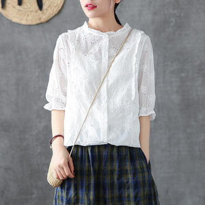 Handmade shirts women Fitted Cotton Soild Embroidery Hollow Out Shirt