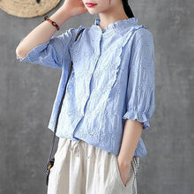 Load image into Gallery viewer, Handmade shirts women Fitted Cotton Soild Embroidery Hollow Out Shirt