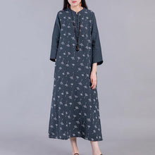 Load image into Gallery viewer, Handmade side open linen cotton Soft Surroundings linen navy prints Dress