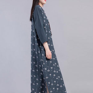 Handmade side open linen cotton Soft Surroundings linen navy prints Dress