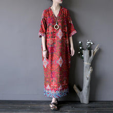 Load image into Gallery viewer, Handmade side open linen v neck Robes pattern red prints Dress