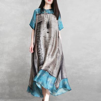 Handmade silk  Robes plus size Vintage Loose Irregular Short Sleeve Dress